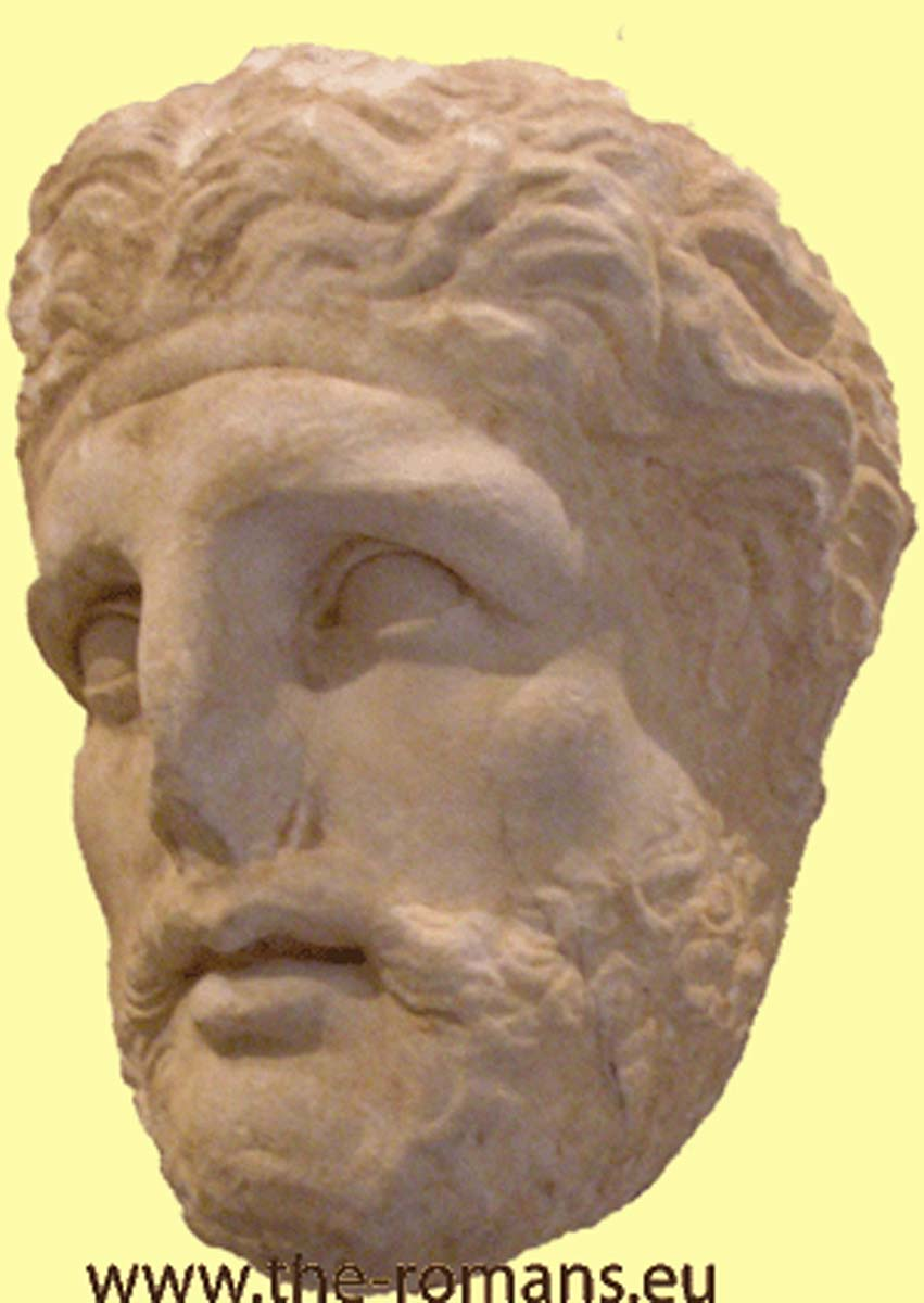 head of a Roman man at a stele