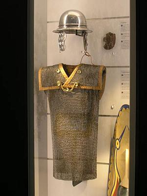 Gallic chain mail and helmet
