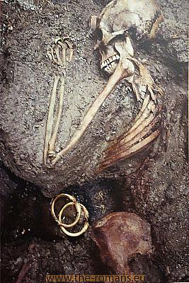 Skeleton of a woman with her jewelry