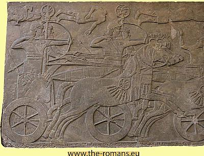 Assyrian chariot and bowmen