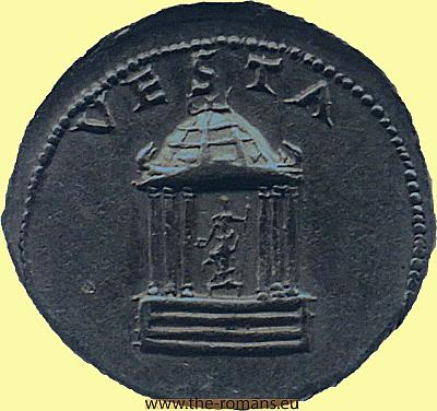 Bronze coin temple of Vesta