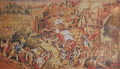 Painting of the Roman attack on Cartagena