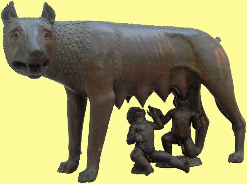 She wolf with Romulus and Remus