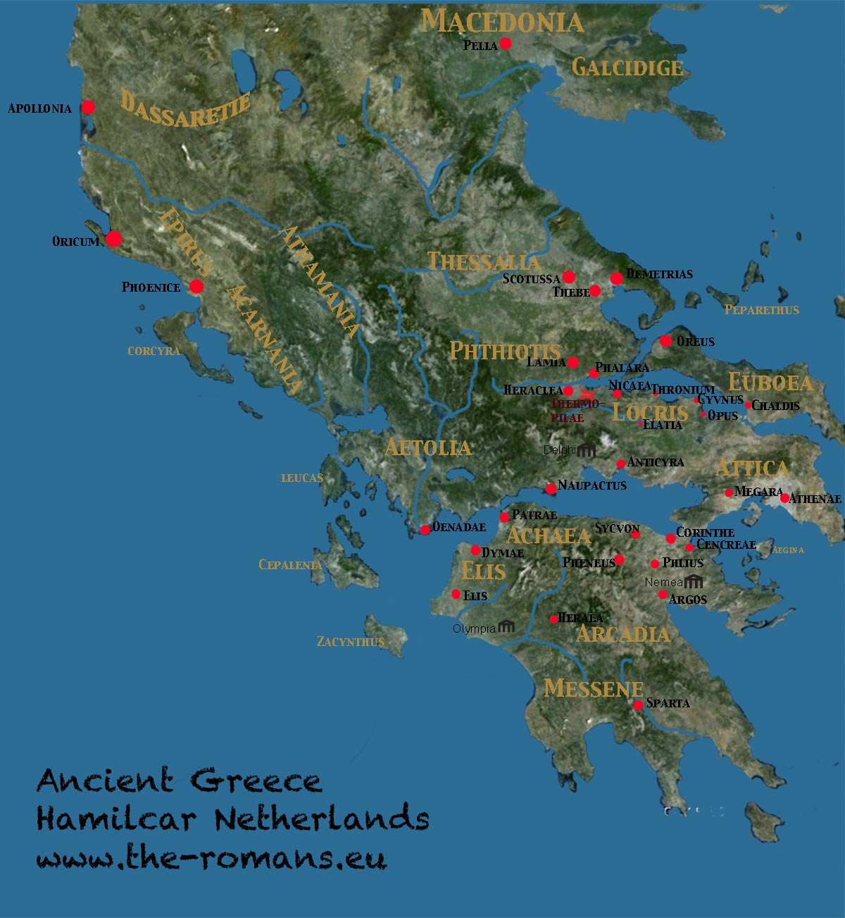 Large map of ancient Greece
